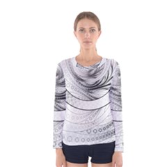 Enso, a Perfect Black and White Zen Fractal Circle Women s Long Sleeve Tee