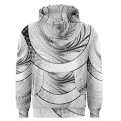 Enso, a Perfect Black and White Zen Fractal Circle Men s Pullover Hoodie
