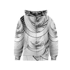 Enso, a Perfect Black and White Zen Fractal Circle Kids  Zipper Hoodie