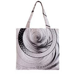 Enso, a Perfect Black and White Zen Fractal Circle Zipper Grocery Tote Bag