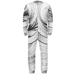 Enso, a Perfect Black and White Zen Fractal Circle OnePiece Jumpsuit (Men)