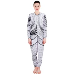 Enso, a Perfect Black and White Zen Fractal Circle OnePiece Jumpsuit (Ladies)