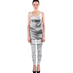 Enso, a Perfect Black and White Zen Fractal Circle OnePiece Catsuit