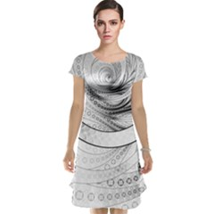 Enso, a Perfect Black and White Zen Fractal Circle Cap Sleeve Nightdress