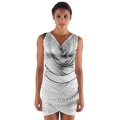 Enso, a Perfect Black and White Zen Fractal Circle Wrap Front Bodycon Dress