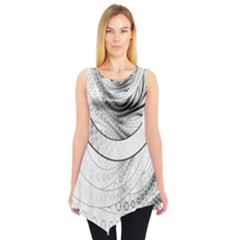 Enso, a Perfect Black and White Zen Fractal Circle Sleeveless Tunic