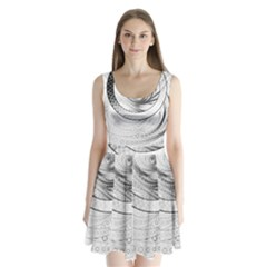 Enso, a Perfect Black and White Zen Fractal Circle Split Back Mini Dress