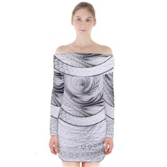 Enso, a Perfect Black and White Zen Fractal Circle Long Sleeve Off Shoulder Dress