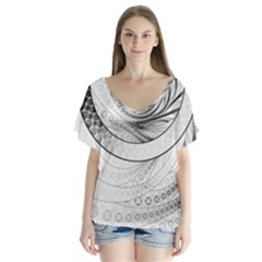 Enso, a Perfect Black and White Zen Fractal Circle Flutter Sleeve Top