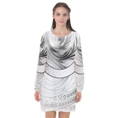 Enso, A Perfect Black And White Zen Fractal Circle Long Sleeve Chiffon Shift Dress