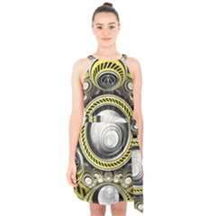 A Cautionary Fractal Cake Baked For Glados Herself Halter Collar Waist Tie Chiffon Dress