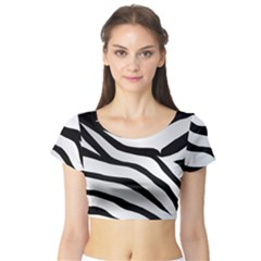 White Tiger Skin Short Sleeve Crop Top (tight Fit)