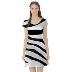 White Tiger Skin Short Sleeve Skater Dress