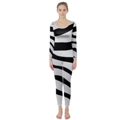 White Tiger Skin Long Sleeve Catsuit