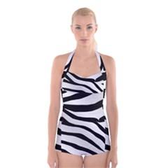 White Tiger Skin Boyleg Halter Swimsuit