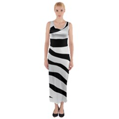 White Tiger Skin Fitted Maxi Dress