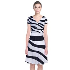 White Tiger Skin Short Sleeve Front Wrap Dress