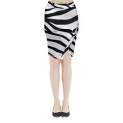 White Tiger Skin Midi Wrap Pencil Skirt