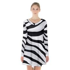 White Tiger Skin Long Sleeve Velvet V Neck Dress