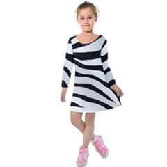 White Tiger Skin Kids  Long Sleeve Velvet Dress