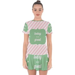 Today Will Be Great Drop Hem Mini Chiffon Dress