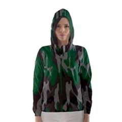 Army Green Camouflage Hooded Wind Breaker (Women)
