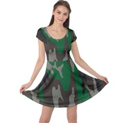 Army Green Camouflage Cap Sleeve Dresses