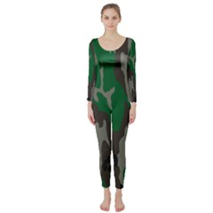 Army Green Camouflage Long Sleeve Catsuit