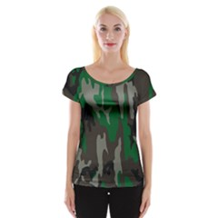 Army Green Camouflage Cap Sleeve Tops