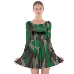 Army Green Camouflage Long Sleeve Skater Dress