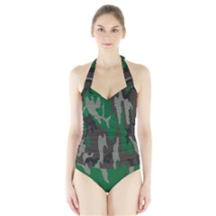 Army Green Camouflage Halter Swimsuit