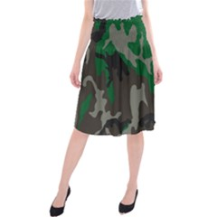 Army Green Camouflage Midi Beach Skirt