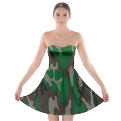 Army Green Camouflage Strapless Bra Top Dress