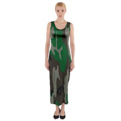 Army Green Camouflage Fitted Maxi Dress