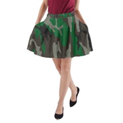 Army Green Camouflage A-Line Pocket Skirt