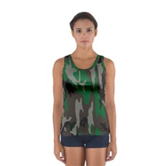 Army Green Camouflage Women s Sport Tank Top
