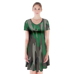 Army Green Camouflage Short Sleeve V-neck Flare Dress