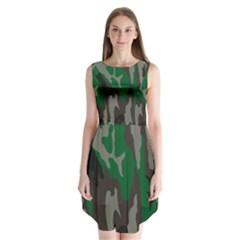 Army Green Camouflage Sleeveless Chiffon Dress