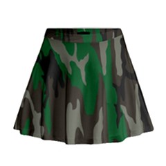 Army Green Camouflage Mini Flare Skirt