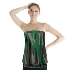 Army Green Camouflage Strapless Top