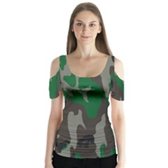 Army Green Camouflage Butterfly Sleeve Cutout Tee