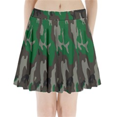 Army Green Camouflage Pleated Mini Skirt