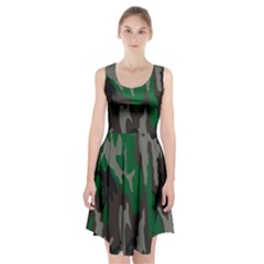 Army Green Camouflage Racerback Midi Dress