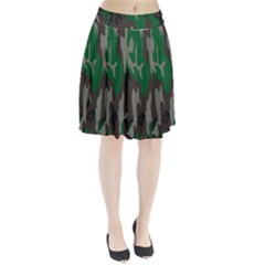 Army Green Camouflage Pleated Skirt