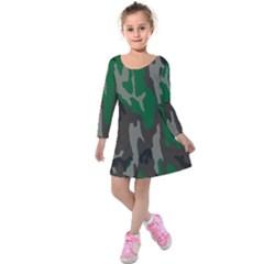 Army Green Camouflage Kids  Long Sleeve Velvet Dress