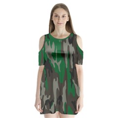 Army Green Camouflage Shoulder Cutout Velvet  One Piece
