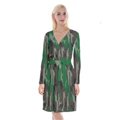 Army Green Camouflage Long Sleeve Velvet Front Wrap Dress