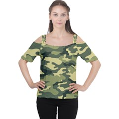 Camouflage Camo Pattern Women s Cutout Shoulder Tee