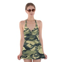 Camouflage Camo Pattern Halter Swimsuit Dress