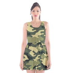 Camouflage Camo Pattern Scoop Neck Skater Dress